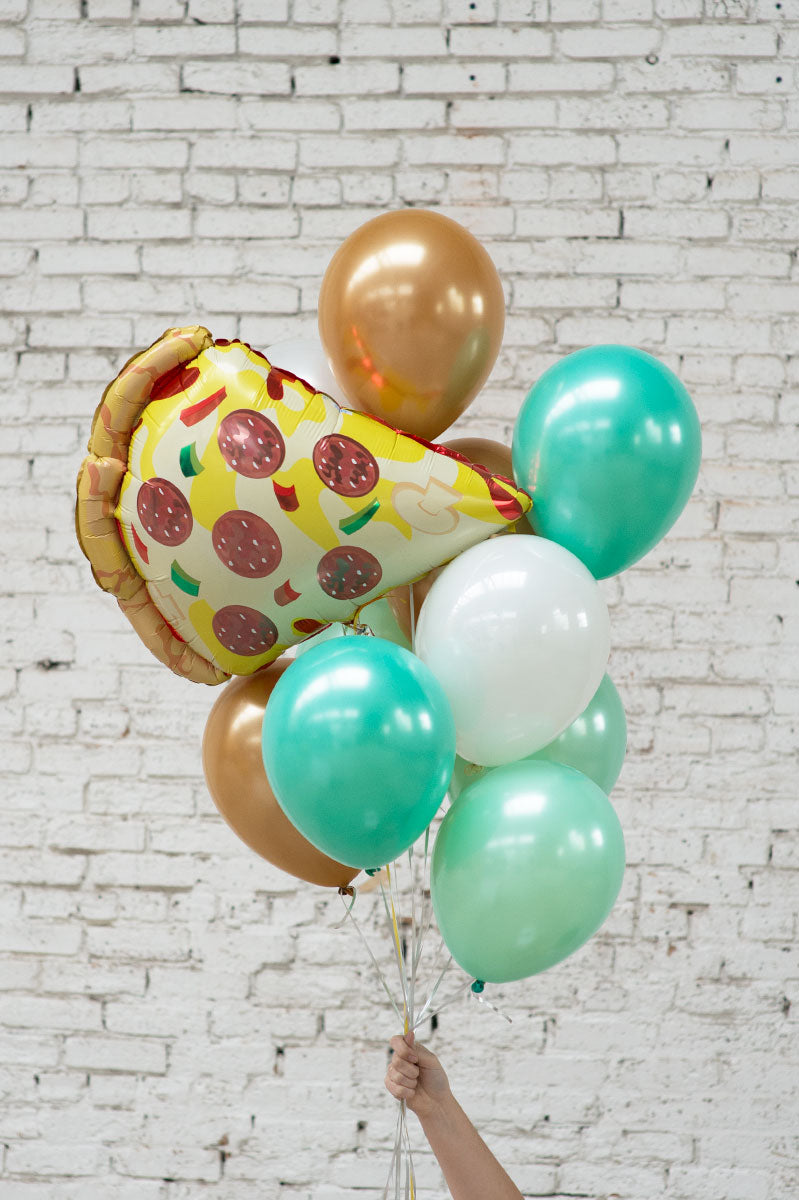 pizza foil balloon bouquet