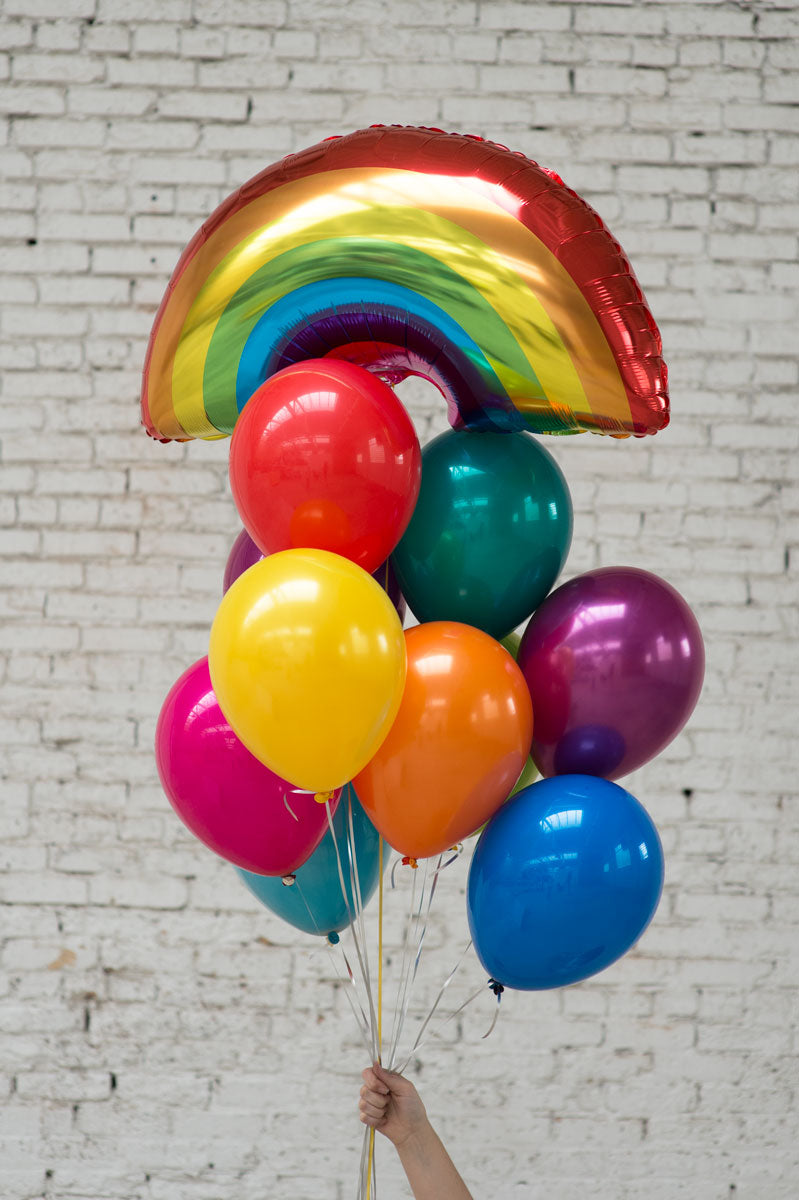 rainbow foil balloon bouquet