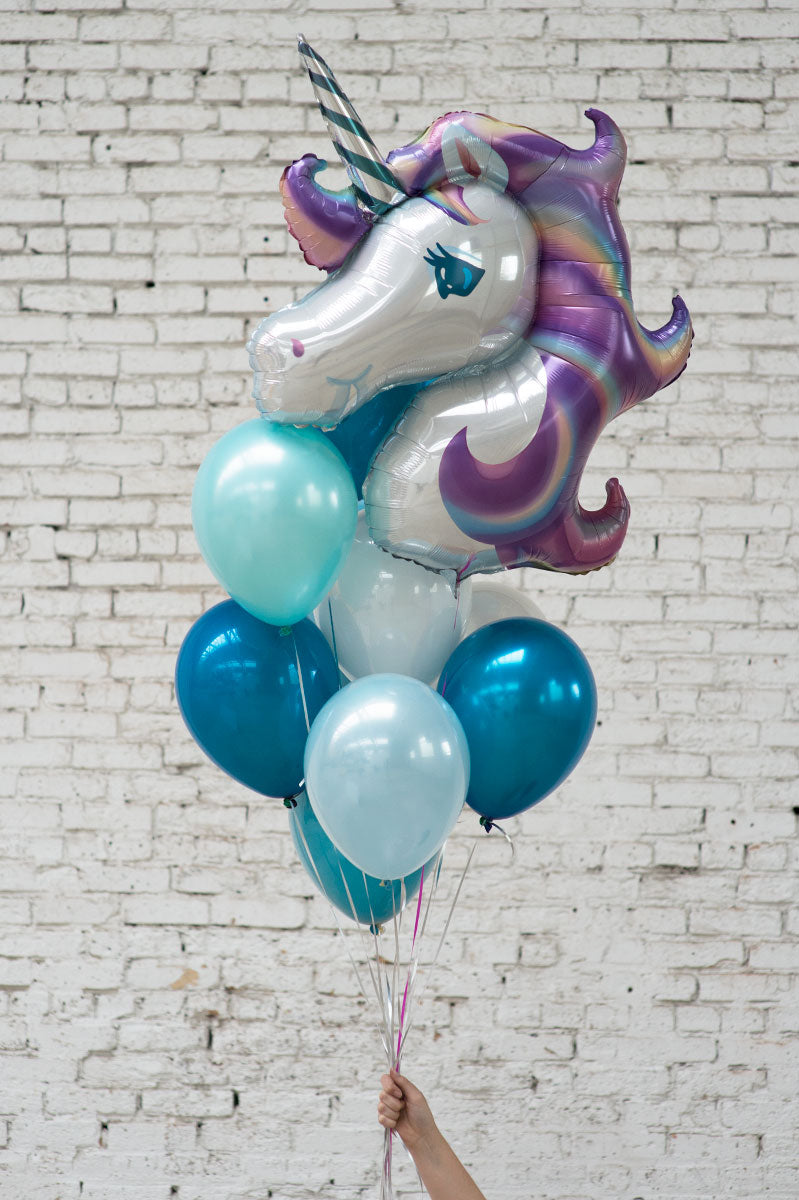 purple unicorn foil balloon bouquet