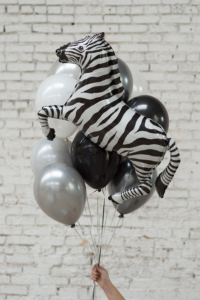 zebra foil balloon bouquet