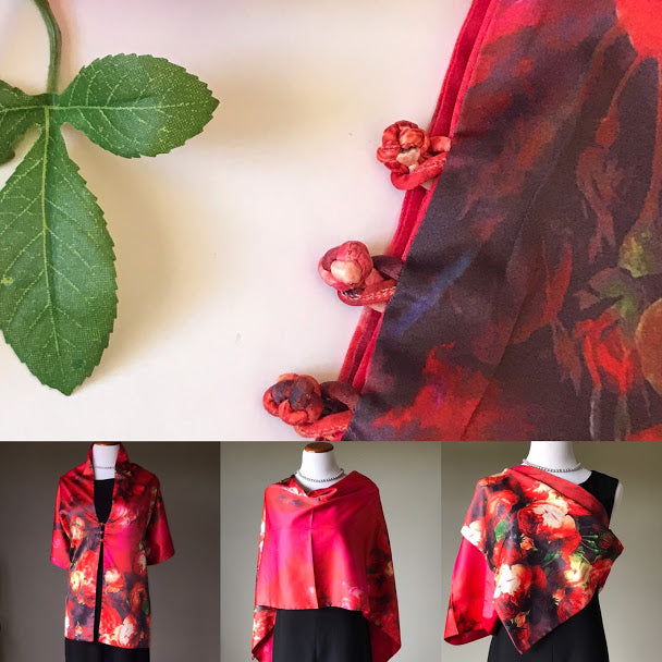 Red floral 100% Silk Satin smooth soft Long double fabric  Scarf with buttons - Stylish n Trendier
