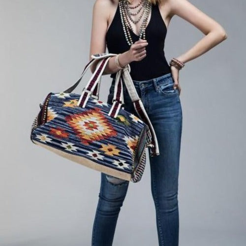 Blue Denim  Boho Chic Navajo Pattern Weekender Duffle Bag - The Lotus Wave