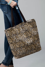 Load image into Gallery viewer, Faux snake skin tote bag shoulder bag - The Lotus Wave