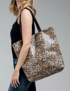 Faux snake skin tote bag shoulder bag - The Lotus Wave
