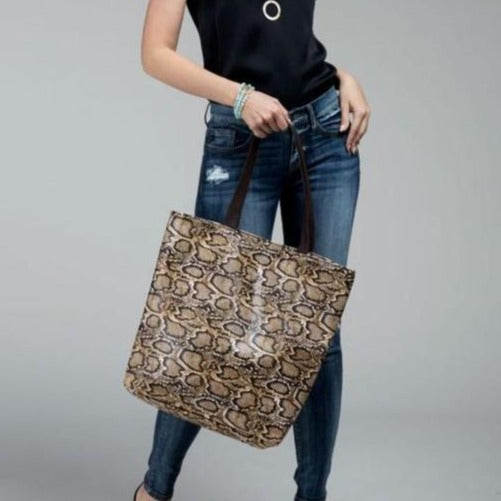 Faux snake skin tote bag shoulder bag - Stylish n Trendier