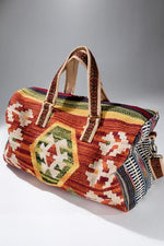 Load image into Gallery viewer, Rustic Brown Boho Chic Navajo Pattern Weekender Duffle Bag - The Lotus Wave
