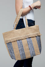 Load image into Gallery viewer, Woven Jute Stripe Metallic Tote Bag summer shoulder bag - The Lotus Wave