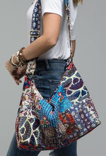 Load image into Gallery viewer, Patchwork boho chic large shoulder bag / Shoulder bag / duffel bag - The Lotus Wave