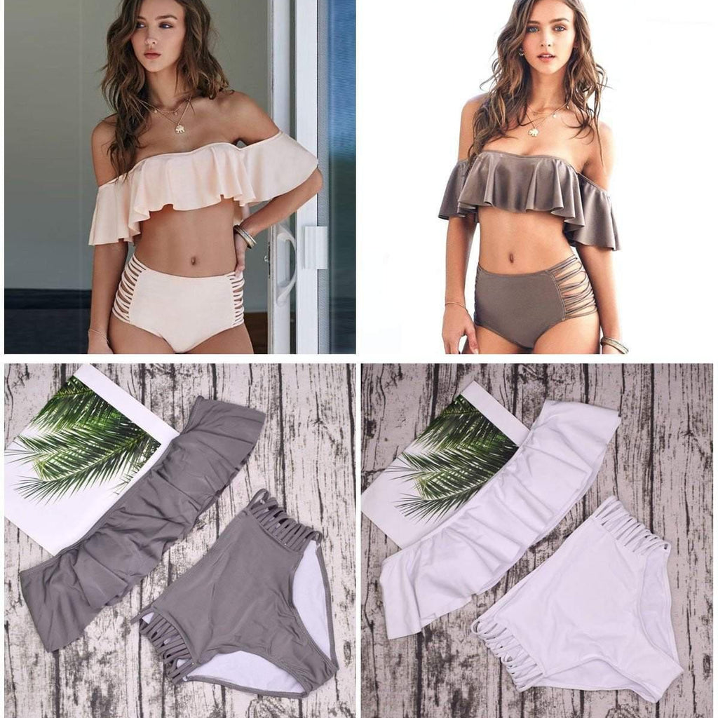 Strapless OFF SHOULDER High Waist Cross Straps Bikini Set Bundle (2 Bikini Set) - Stylish n Trendier