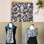 Load image into Gallery viewer, Blue white floral 100% Silk Satin smooth soft Long double fabric  Scarf with buttons - Stylish n Trendier