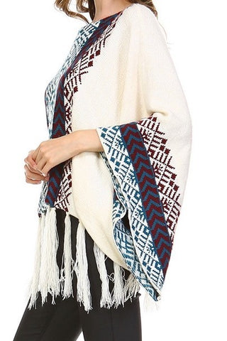 Image of Bohemian cream tassel Poncho Sweater