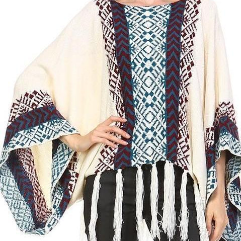 Image of Bohemian cream tassel Poncho Sweater Aztec Tribal Slouchy Bohemian