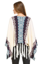 Load image into Gallery viewer, Bohemian cream tassel Poncho Sweater Aztec Tribal Slouchy Bohemian