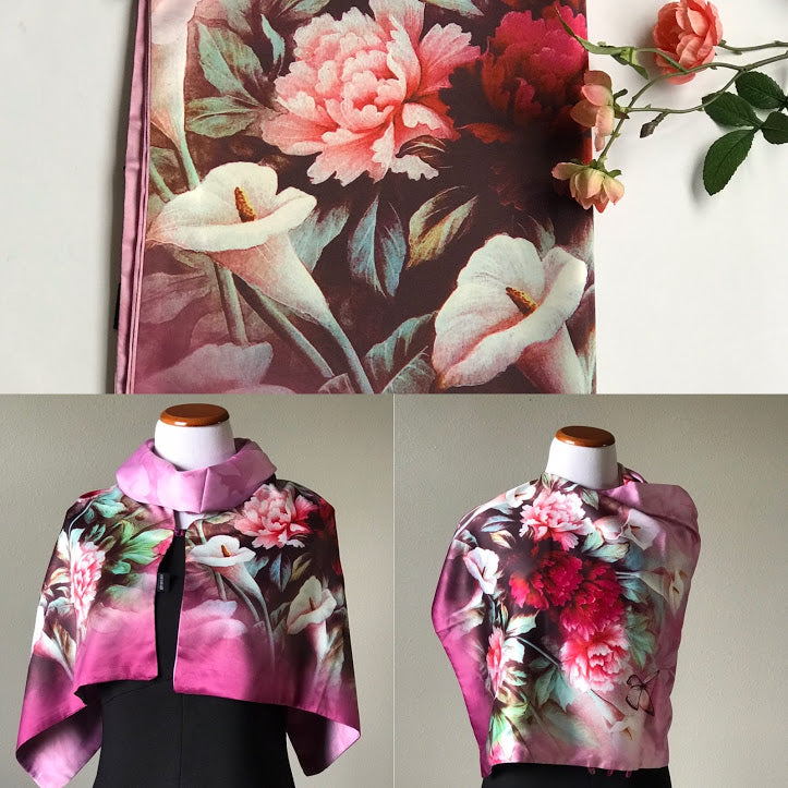 Pink floral 100% Silk Satin smooth soft Long double fabric  Scarf with buttons - Stylish n Trendier