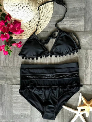 Image of Tassel Mesh insert  High Waist bikini swimsuit