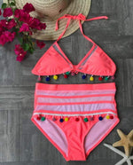Load image into Gallery viewer, Pom Pom Tassel Mesh insert  High Waist bikini swimsuit - Stylish n Trendier
