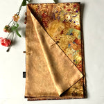 Load image into Gallery viewer, Gold floral 100% Silk Satin smooth soft Long double fabric  Scarf with buttons - Stylish n Trendier