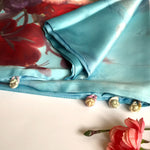 Load image into Gallery viewer, Blue 100% Silk Satin smooth soft Long double fabric  Scarf with buttons - Stylish n Trendier