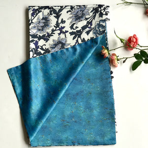 Blue white floral 100% Silk Satin smooth soft Long double fabric  Scarf with buttons