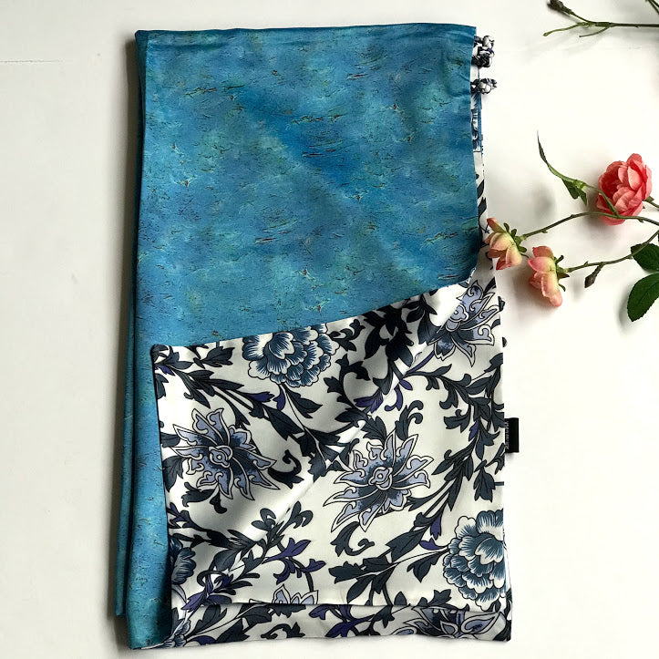 Blue white floral 100% Silk Satin smooth soft Long double fabric  Scarf with buttons - Stylish n Trendier