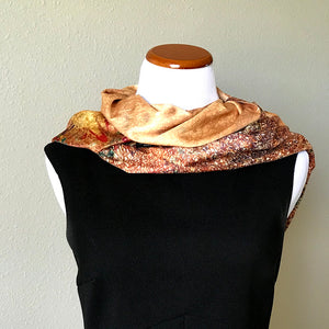 Gold floral 100% Silk Satin smooth soft Long double fabric  Scarf with buttons - Stylish n Trendier