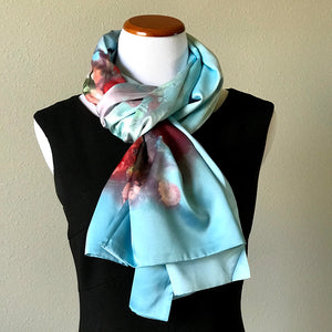 Blue 100% Silk Satin smooth soft Long double fabric  Scarf with buttons - Stylish n Trendier