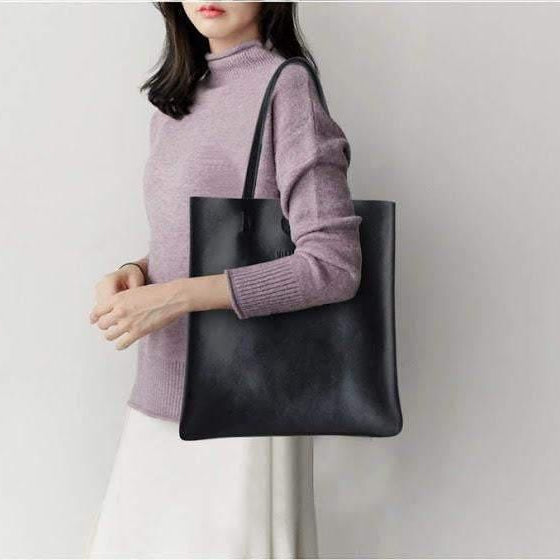 New Retro vintage black leather tote shopper bag - The Lotus Wave