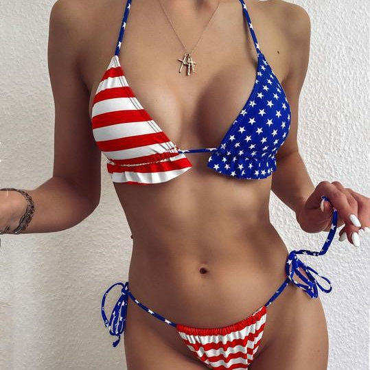 American flag Bikini bikini swimsuit bathingsuit - The Lotus Wave