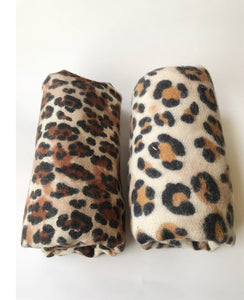 animal leopard print winter warm  blanket scarf shawl light color - Stylish n Trendier