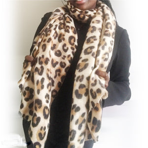 animal leopard print winter warm  blanket scarf shawl dark color - The Lotus Wave