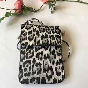 Grey black Leopard Print Cell Phone Crossbody bag - Stylish n Trendier