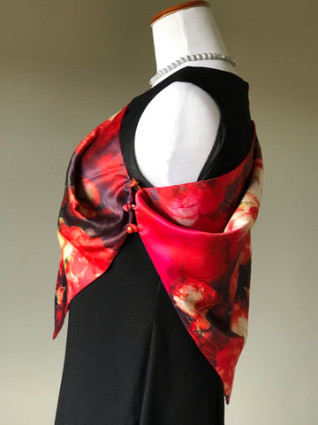 Image of 100% Silk Satin smooth soft Long double fabric  Scarf with buttons