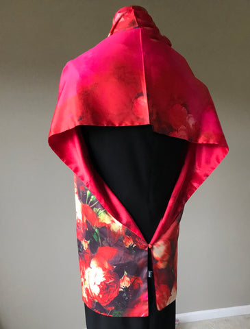 100% Silk Satin smooth soft Long double fabric  Scarf with buttons