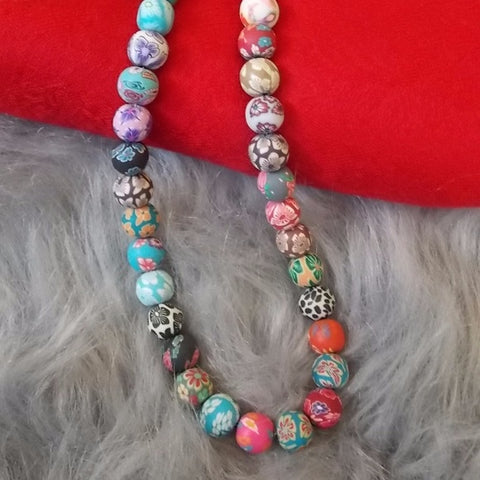 Bohemian Style polymer clay beads necklace pendant