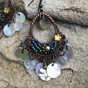 Boho bohemian dark copper dangling earrings - The Lotus Wave