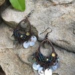 Load image into Gallery viewer, Boho bohemian dark copper dangling earrings - The Lotus Wave