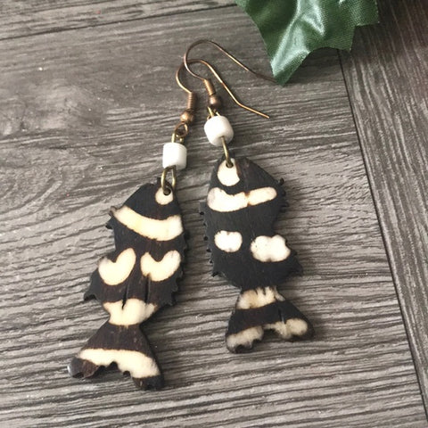 Image of African ethnic Handmade Cow Bone Dangle Earrings