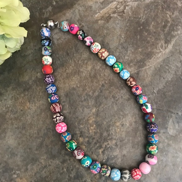 Polymer beads boho necklace - The Lotus Wave