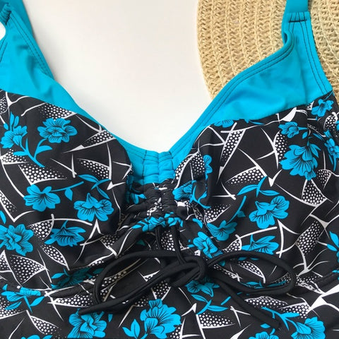 Image of Black blue onepiece swimsuit Bathingsuit swimsuit