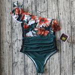 Load image into Gallery viewer, one piece off shoulder ruffled floral swimsuit - The Lotus Wave