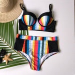 Load image into Gallery viewer, Women's Plus Size Stripe Bikini Set - The Lotus Wave