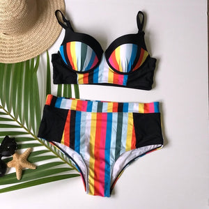 Women's Plus Size Stripe Bikini Set - The Lotus Wave