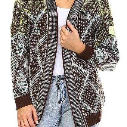 Image of Open Front brown white green Sweater cardigan