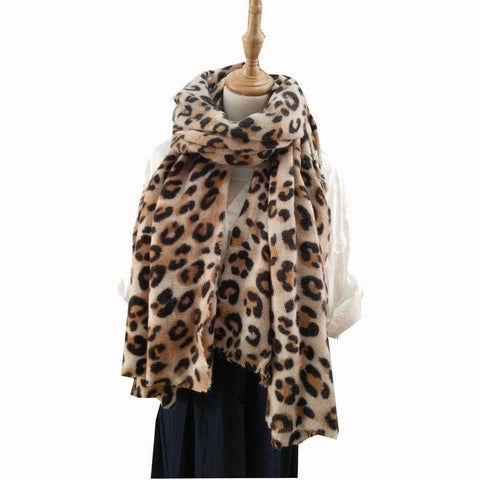 animal leopard print winter warm  blanket scarf shawl dark color