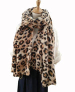 Load image into Gallery viewer, animal leopard print winter warm  blanket scarf shawl light color - Stylish n Trendier