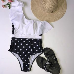 one piece off shoulder ruffled polka dot swimsuit - Stylish n Trendier