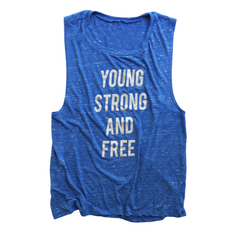 Young Strong  Free Shimmer Muscle tank - Blue