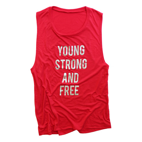 Young Strong  Free Shimmer Muscle tank - Red