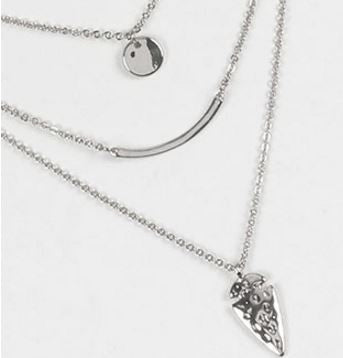3 Chains Layered Arrow Necklace - Silver