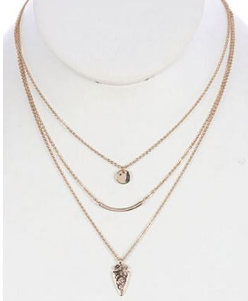 3 Chains Layered Arrow Necklace - Gold